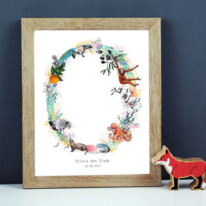 Personalised J To S Pastel Wildlife Letter Print - posters & prints