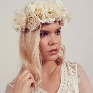 Martha White Rose Floral Crown Headband - bridal hairpieces