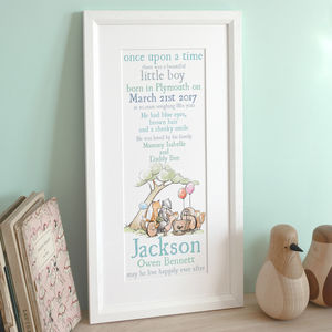 Personalised Animal New Baby Arrival Print
