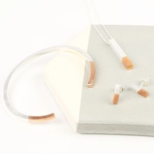 Silver Dipped In Rose Gold Bar Jewellery Set - jewellery sets