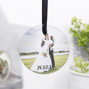 Personalised Wedding Flat Bauble / Hanging Decoration