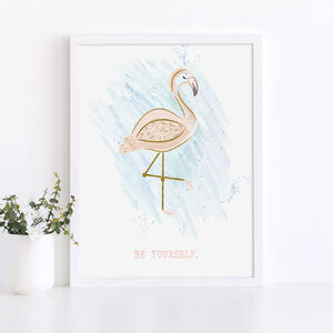'Be Yourself' Flamingo Print