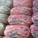 Plump Flump yarn colours- Seagrass Humbug and Rose