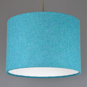 Teal Herringbone Harris Tweed Lampshade - bedroom