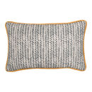 Yellow Piped Linen Cushion 'Plough' Herringbone Pattern