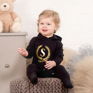 Personalised Babygrow With Gold Initial