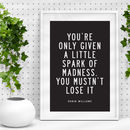 'A Little Spark' Robin Williams Quote Typography Print