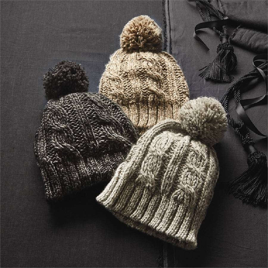 winter cable knit bobble hat by marquis   dawe  b8f9c73a433