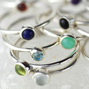 Genuine Gemstone Silver 4mm Stacking Ring