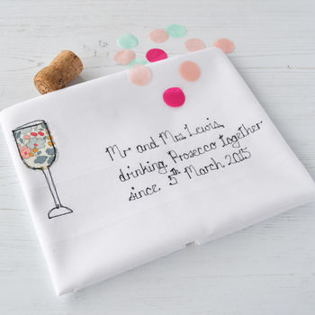 Personalised 'Drinking Prosecco Together' Tea Towel
