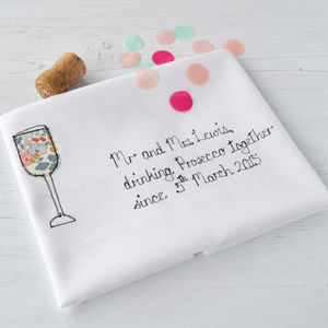 Personalised 'Drinking Prosecco Together' Tea Towel - personalised wedding gifts