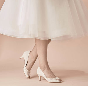 Ivory Suede Wedding Peep Toe Hazel - wedding fashion