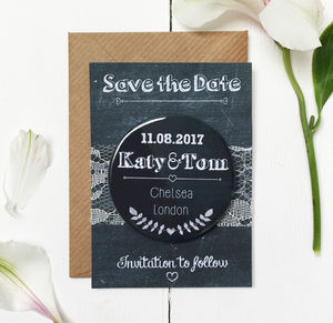 Chalkboard Wedding Save The Date Magnet