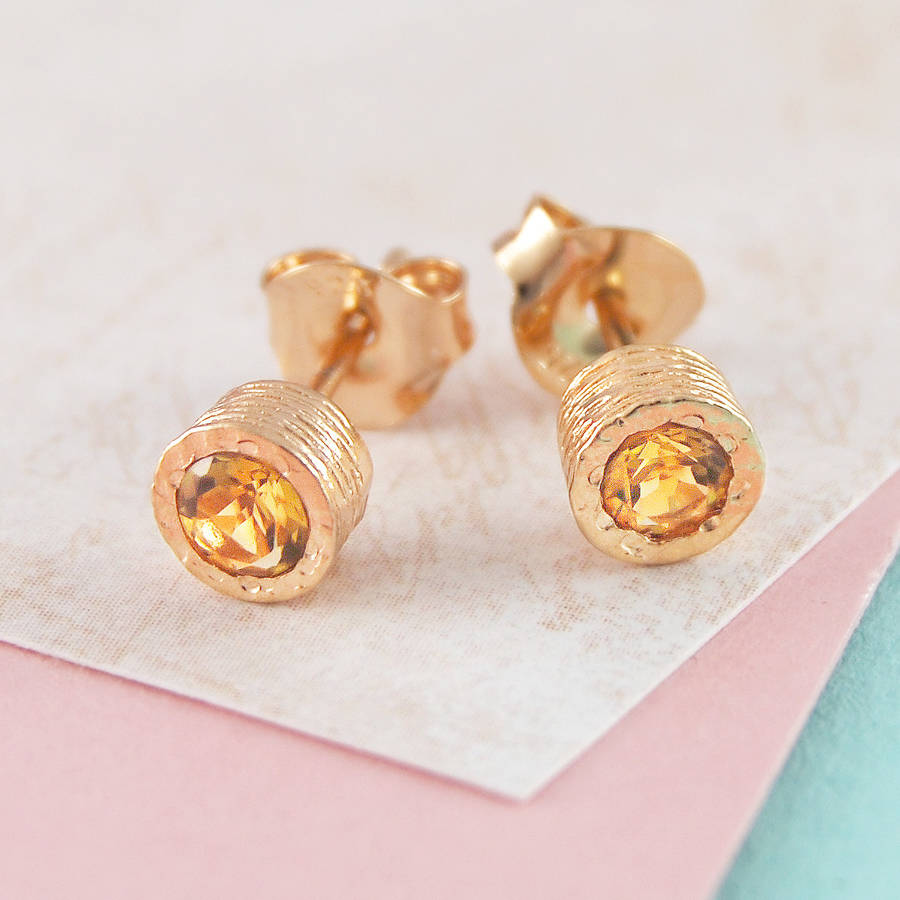 round earrings prong stud yellow zirconia citrine products gold cubic cz set