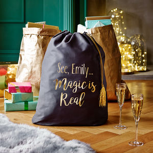 Personalised The Magic Is Real Christmas Sack - christmas sale