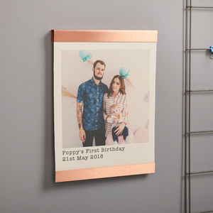 Personalised Copper And Canvas Hanging Photo Print