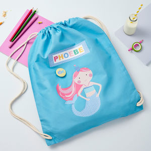 Girls Personalised Mermaid Bag - baby's room