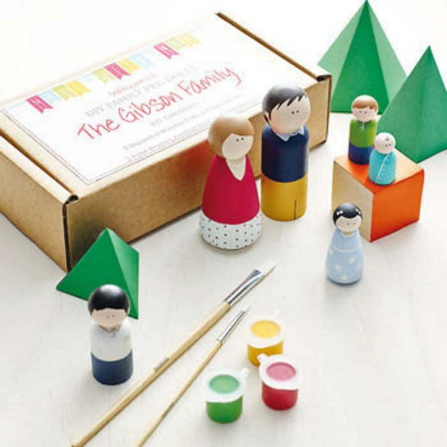 family peg doll craft kit for children by make with mum. Black Bedroom Furniture Sets. Home Design Ideas