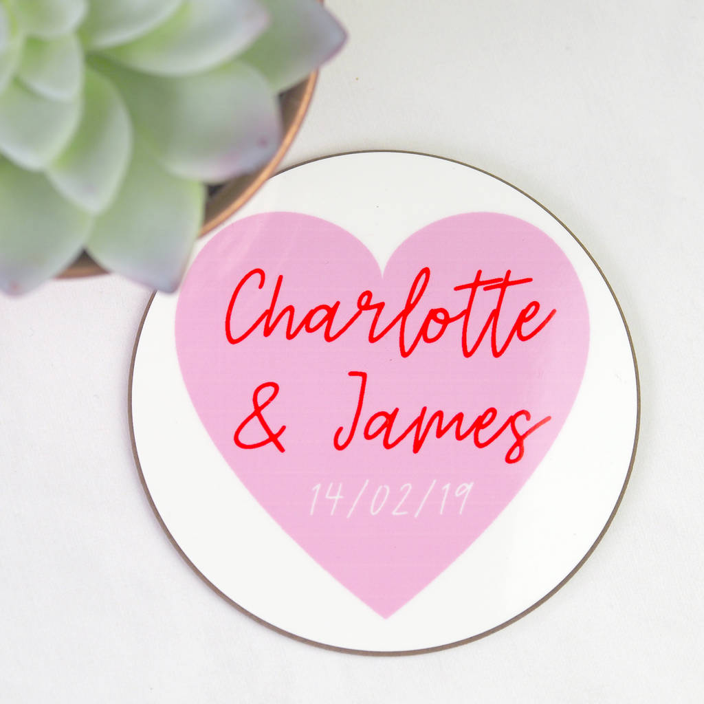 personalised heart coaster by so close | notonthehighstreet.com