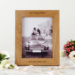 Personalised Oak Wedding Photo Frame - 5th anniversary: wood
