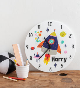 Boy's Bedroom Space Theme Personalised Clock Gift - living room