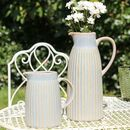 Farmhouse Blue Grey Treacle Glaze Pitchers