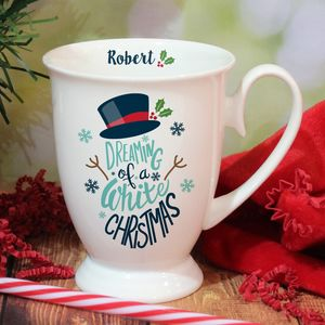 Bone China White Christmas Snowman Personalised Mug