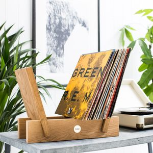 Personalised Oak And Brass Vinyl Storage Rack - kitchen