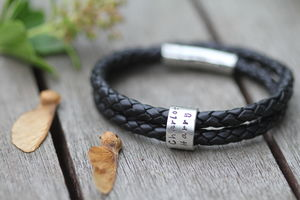 Personalised Black Islington Ring Bracelet