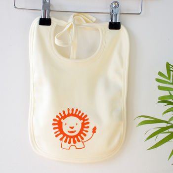 Lion Organic Cotton Bib