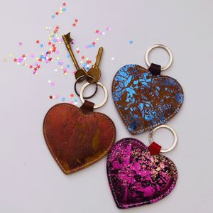 Leather Heart Keyring - on trend: metallics