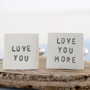 Personalised Silver Valentines Cufflinks - gifts for groomsmen