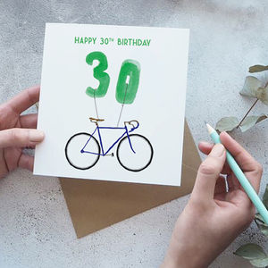 30th Birthday Bike With Balloons Card - 30th birthday cards