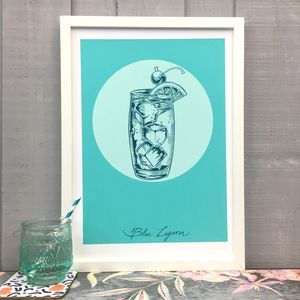 Blue Lagoon Cocktail Giclée Fine Art Print - food & drink prints