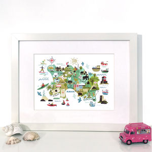 Jersey Map, Illustrated Giclée Wall Art Print