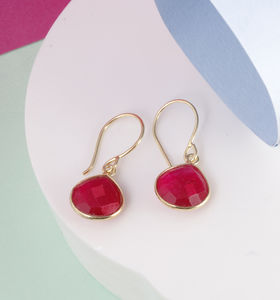 Deep Pink Gemstone Drop Earrings - view all fine jewellery