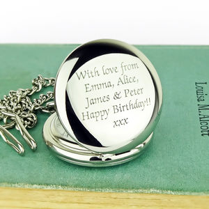 Personalised Pocket Watch With Engraved Message - watches