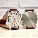 Personalised Men's Brown Leather Multi Dial Watch
