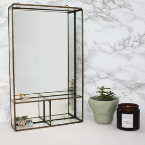 Brass Mirror With Shelves - furniture