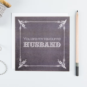 'Favourite Husband' Funny Valentine's Card - winter sale