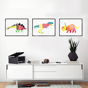 Dinosaur Screen Print Set Of Three