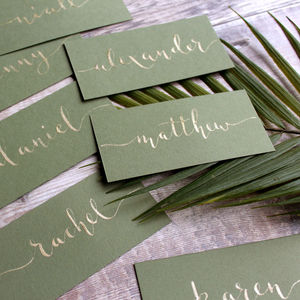 Olive And Gold Calligraphy Placecards - new in wedding styling