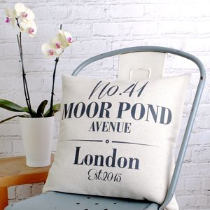 New House Personalised Cushion Cover