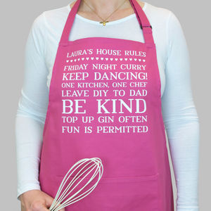 Personalised House Rules Apron