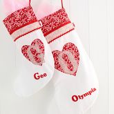 Personalised Heart Girls Christmas Stocking - christmas decorations