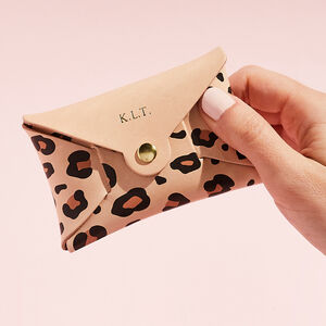 Personalised Leopard Print Leather Coin Purse Natural