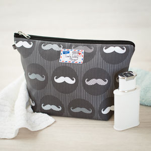 Moustache Monochrome Gift Men's Toiletry Wash Bag