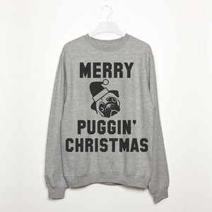Merry Puggin' Christmas Women's Pug Slogan Sweatshirt - christmas sale