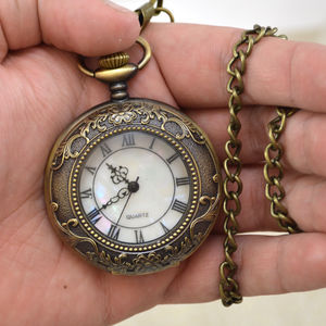 Bronze Personalised Half Hunter Pocket Watch - watches