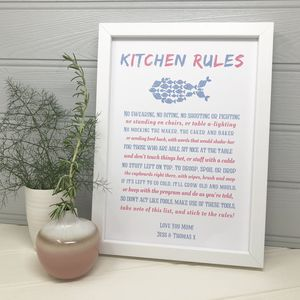 Personalised Mum's 'Kitchen Rules' Poem - posters & prints